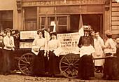 Suffragettes advertising a talk by Emmeline Pankhurst, 1910