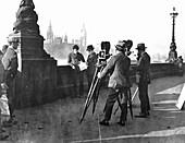 Film makers on the Albert Embankment, London