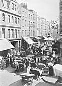 A market in Little Earl Street, looking east, East London