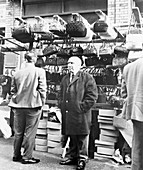 An East End market stall selling handbags, London