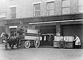 A horse drawn Lyons van, Cadby Hall, West Kensington, London