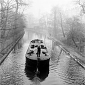 Canal and barge, London