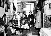 Salvation Army visiting a resident, London, c1900