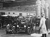 Morris Cowley Bullnose in a garage, 1925