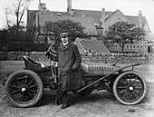 Charles Stewart Rolls with a 1905 Wolseley, c1905
