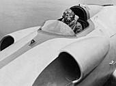 John Cobb seen at the helm of 'Crusader', Scotland, 1952