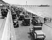 Cars driving along Bournemouth seafront, Dorset, 1928
