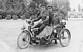 Three soldiers on a bicycle and sidecar