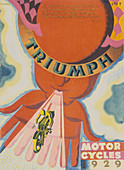 Poster advertising Triumph motor bikes, 1929