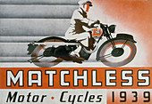 Poster advertising Matchless motor bikes, 1939