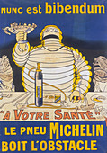 Poster with Mr Bibendum advertising Michelin tyres