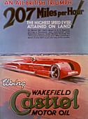 Poster advertising Castrol, featuring a Sunbeam car