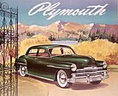 Poster advertising the Plymouth Special de Luxe Sedan, 1950