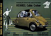 Poster advertising a Heinkel Cabin Cruiser, 1956