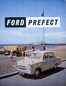 Poster advertising a Ford Prefect car, 1956