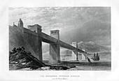 Britannia Tubular Bridge over the Menai Straits, Wales, 1886