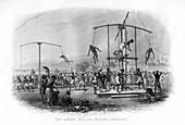 The Churuk Puja or Swinging Ceremony, India, 19th century