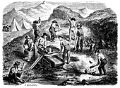 Cradling for gold in the Californian gold fields, 1849