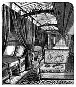 Pullman sleeping car on the Union Pacific Railroad, c1869