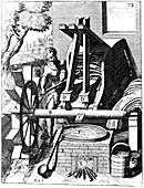 Undershot water wheel powering a fulling mill, 1673