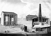 Illustration showing the working spaces of a gas works, 1828
