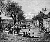 Slave quarters on a plantation in Georgia, USA