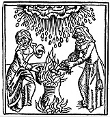 Witches casting a spell to bring rain, 1489