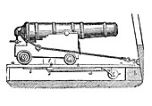 Ship cannon on gun carriage Woodcut, 1835
