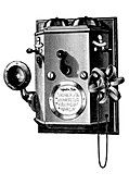 Edison telephone in a wall-mounted box, New York, 1890