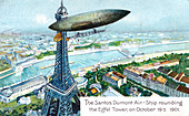 The Santos Dumont Air-ship rounding the Eiffel Tower, 1901'