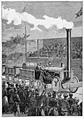 Stephenson's 'Rocket' winning the Rainhill Trials, 1829