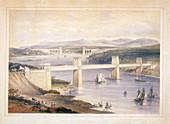 Britannia Tubular Bridge over the Menai Straits, Wales