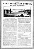 Menai Suspension Bridge, Wales, c1826