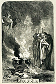 Macbeth visiting the three witches on the blasted heath