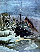 The 'Titanic' colliding with an iceberg, 1912
