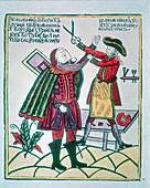 Peter I, the Great, Tsar of Russia, cutting a Boyar's beard