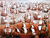 The Spanish Armada which threatened England in July 1588