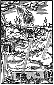 Sectional view of a German mine, 1556