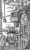 Reversible hoist for raising buckets from a mine shaft