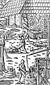 Smelting iron and hammering bars with a mechanical hammer