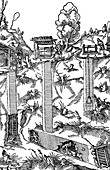 Sectional view of a mine showing shafts and galleries, 1556