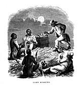 Negro labourers husking maize, southern USA, c1850