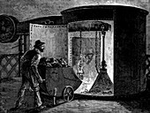 Charging a blast furnace at the Govan Iron Works, Scotland