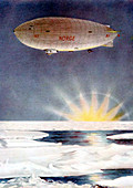 Amundsen's airship, the 'Norge', over the North Pole, 1926