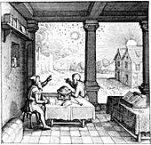 Astrologers preparing a horoscope, 1617-1619