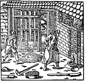 Stamping and roasting ore to extract metal, 1556
