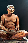 Seated scribe, Ancient Egyptian, 5th Dynasty, 2498-2345 BC