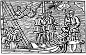 Sailors buying winds (tied in knots) from a magician, 1562
