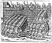 Roman soldiers attacking a fortress, 1605