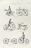 Six early forms of bicycle, c1870
